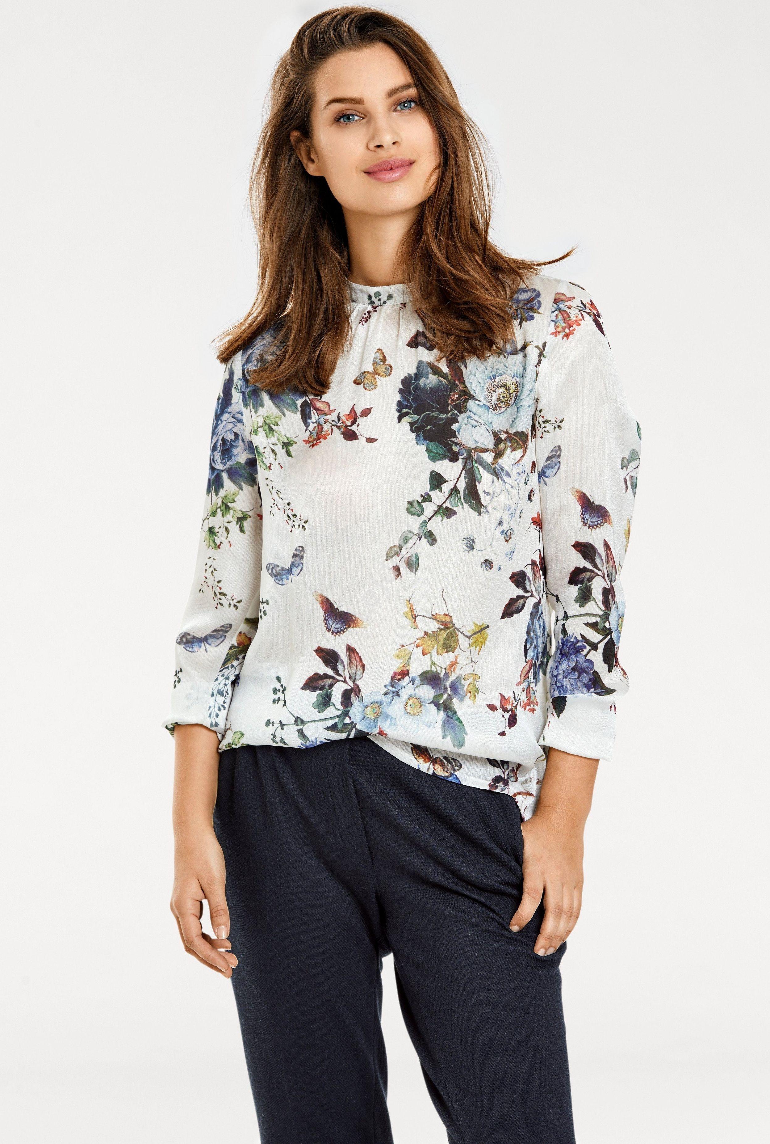 Szyfonowa bluzka w kwiaty i motyle - Lejdi
