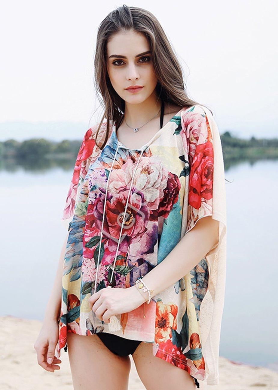 Szyfonowa kwiatowa narzutka, kimono, bluzka - Lejdi