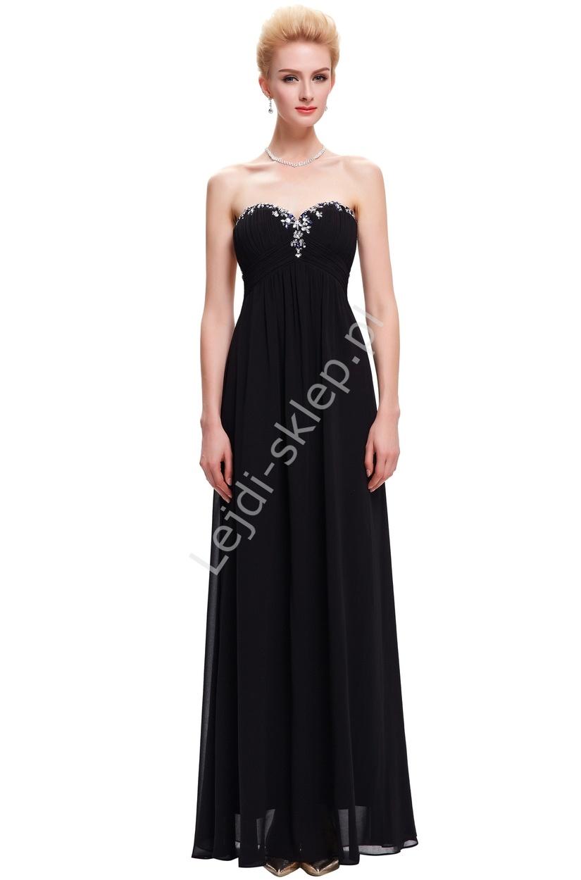Szyfonowa skromna czarna suknia bez ramiączek, klasyczna z kryształkami - Lejdi