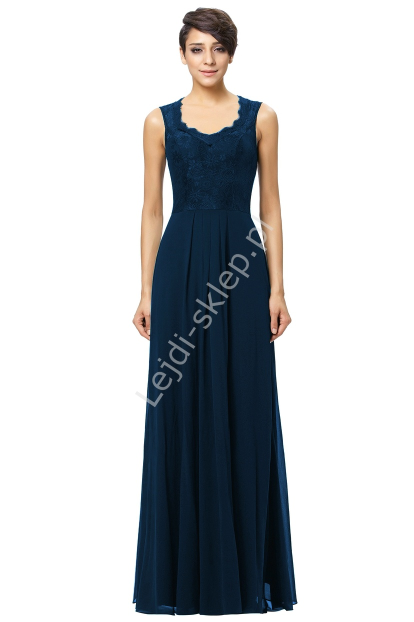 Szyfonowa skromna granatowa suknia z koronką   granatowadla mamy - Lejdi