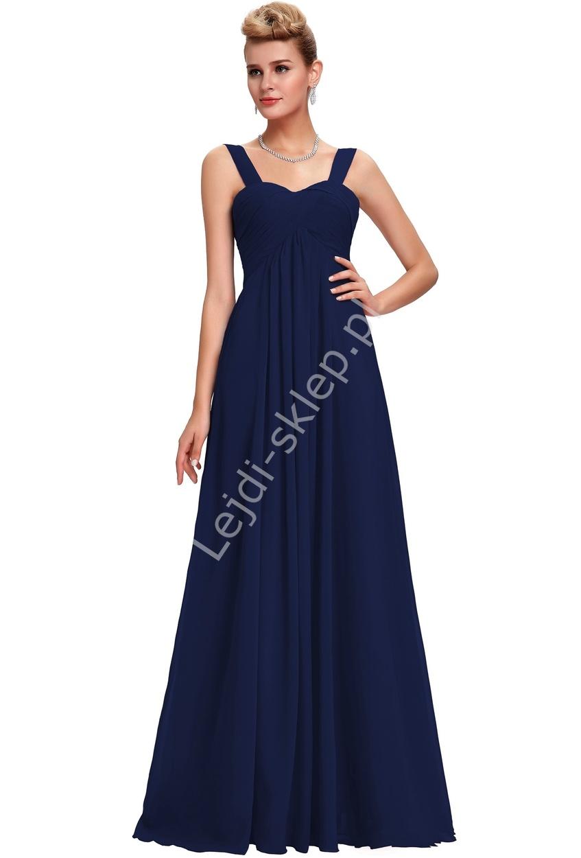 9c51591167 Szyfonowa skromna granatowa suknia wieczorowa z drapowanym dekoltem ...