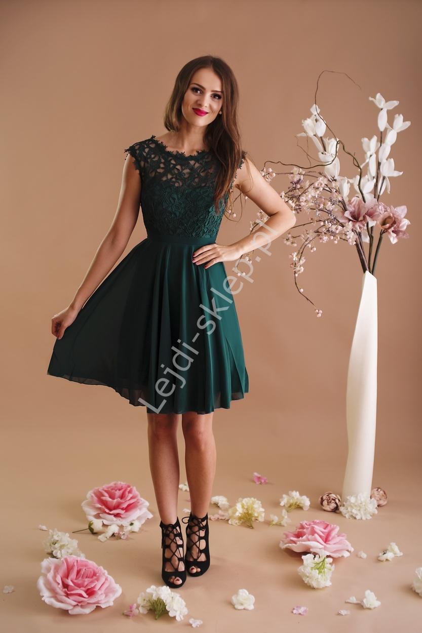 68ab61ff1e Butelkowo zielona szyfonowa sukienka na wesela