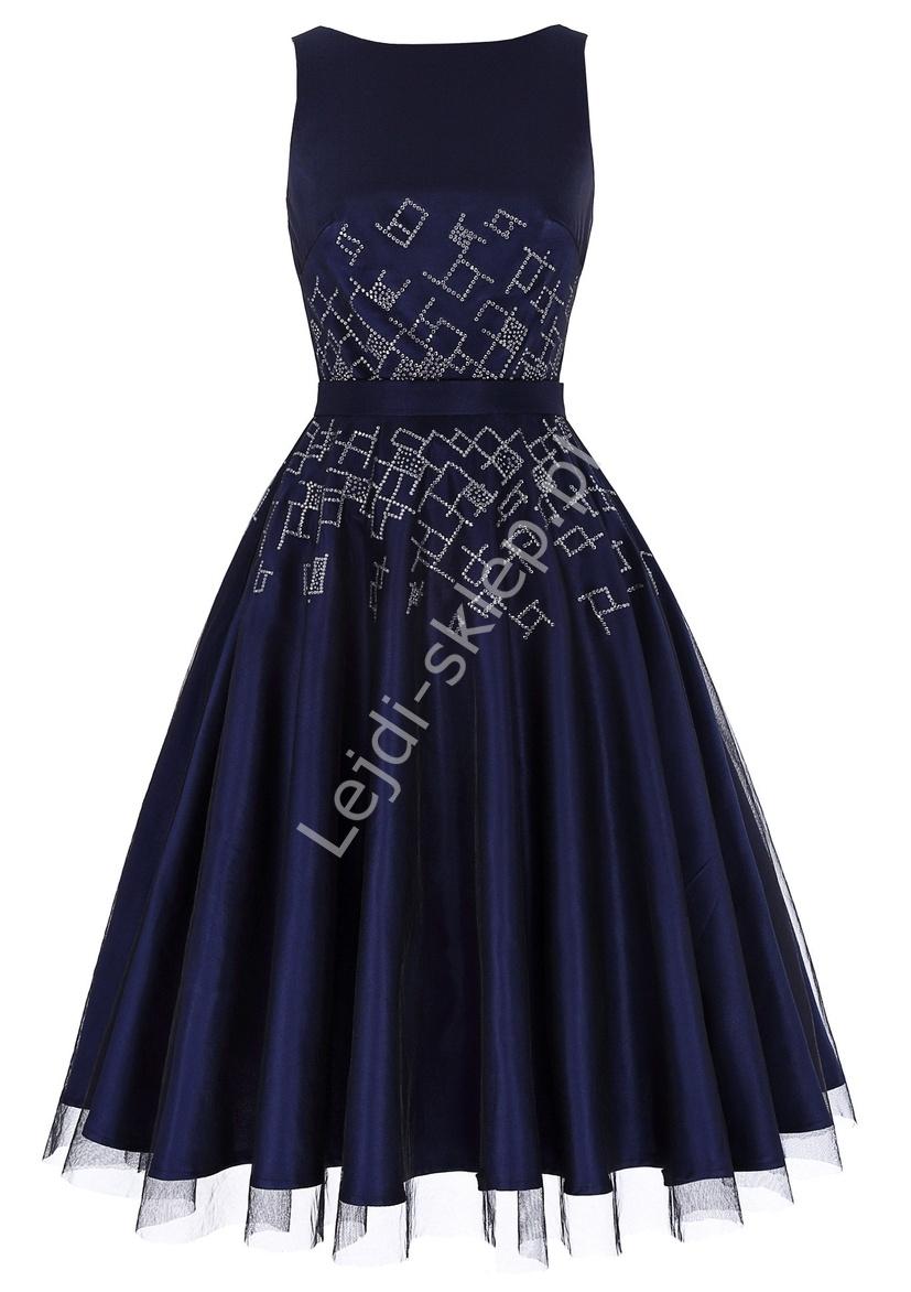 Szyfonowa sukienka z kryształkami | sukienka na wesele, studniówkę - Lejdi