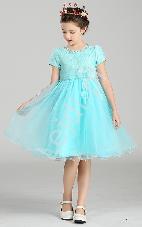7edf839881a8b6 Szyfonowa turkusowa sukienka z kwiatem w pasie dla dziewczynek ...