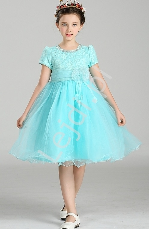 Szyfonowa turkusowa sukienka z kwiatem w pasie   sukienki dla dziewczynek - Lejdi