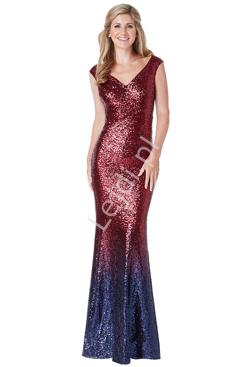 Szykowna suknia cekinowa o kroju syreny, ombre czerwono granatowe, by Stephanie Pratt - Lejdi
