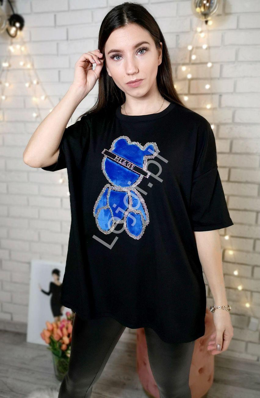 T-shirt damski z futerkowym niebieskim misiem i kryształkami, czarna - Lejdi