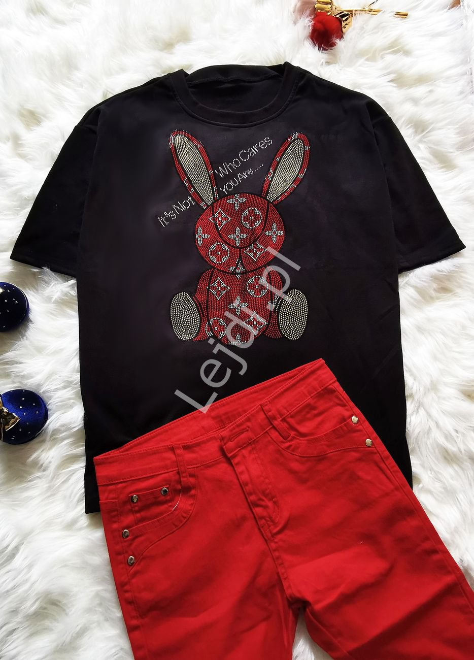 T-shirt Who Cares z kryształkowym królikiem czarny - Lejdi