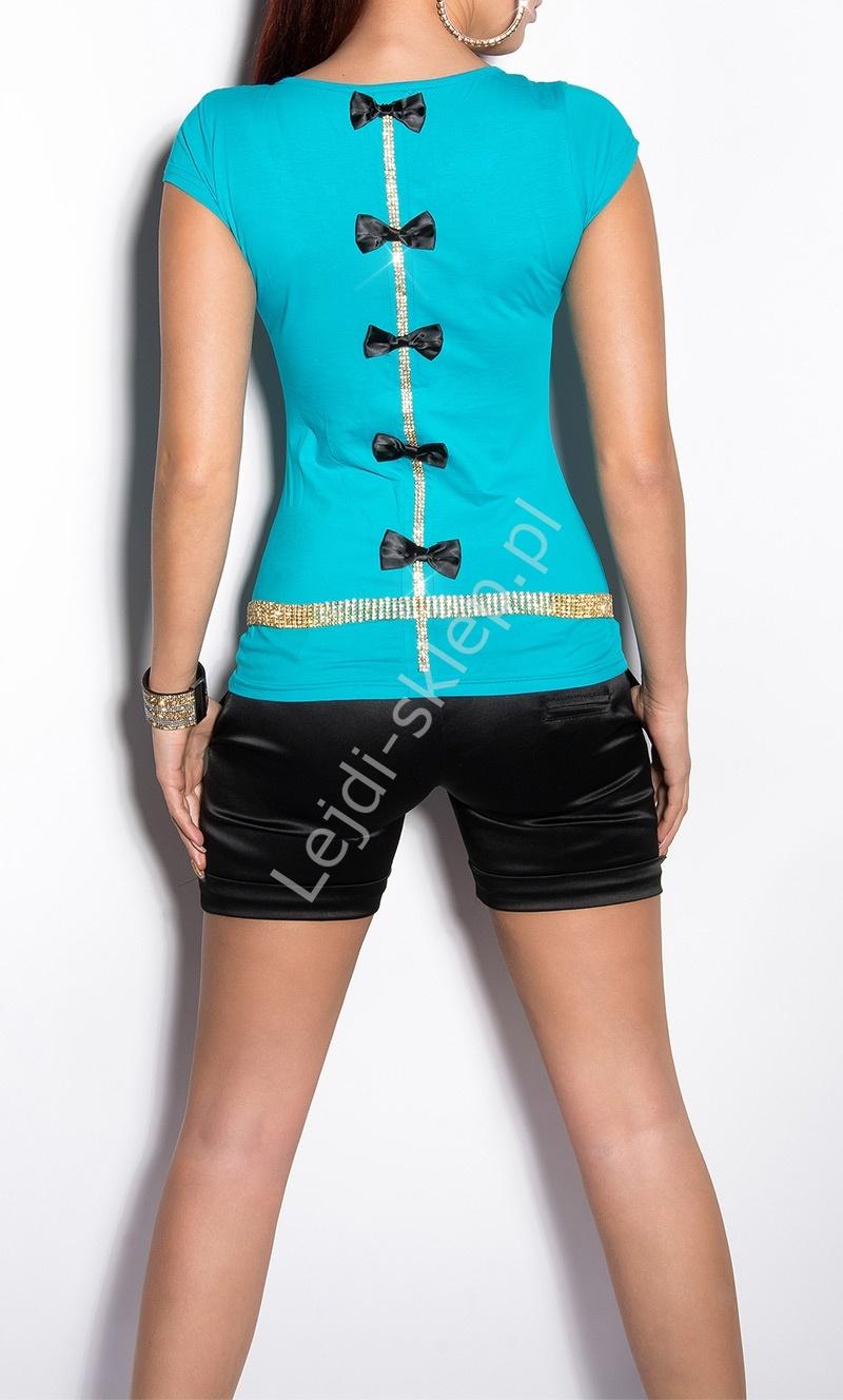 T-shirt z cyrkoniami i kokardkami na plecach | turkusowa koszulka - Lejdi
