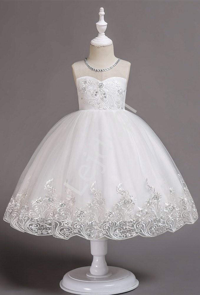 Tiulowa biała sukienka komunijna 561 - Lejdi