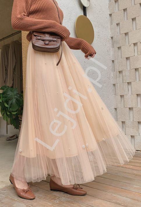 Tiulowa brzoskwiniowa spódnica z perełkami 340 - Lejdi