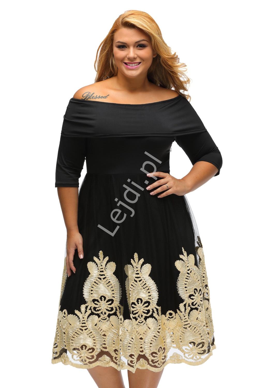 Tiulowa czarna elegancka sukienka z beżowymi haftami na tiulu, Plus Size - Lejdi