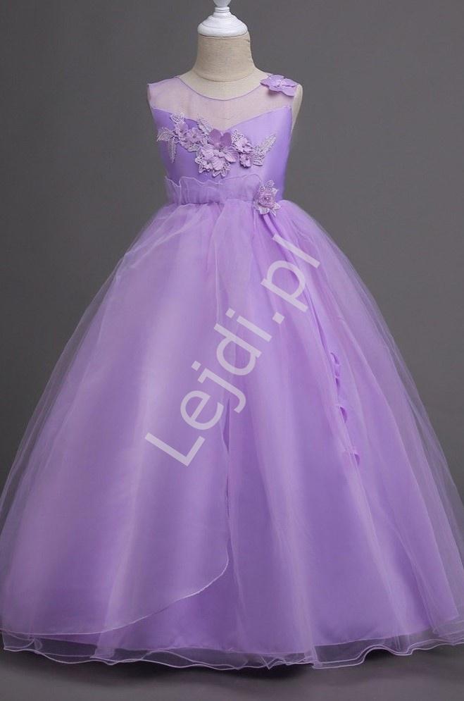 Tiulowa długa sukienka dla dziewczynki w fioletowym kolorze 708 - Lejdi
