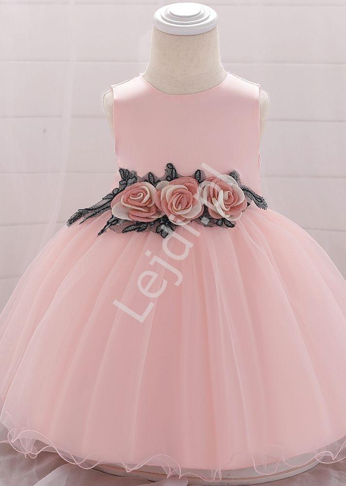 Tiulowa dziecięca sukienka z różanym pasem, jasny róż 1881 - Lejdi