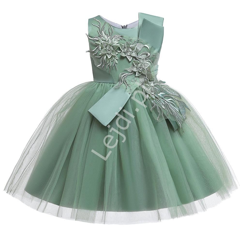 Tiulowa oliwkowa sukienka dla dziewczynki zdobiona kwiatami 3D, 5150 - Lejdi