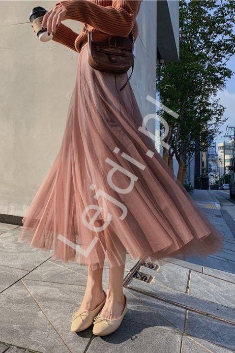 Tiulowa spódnica z brokatową podszewką czekoladowa - Lejdi