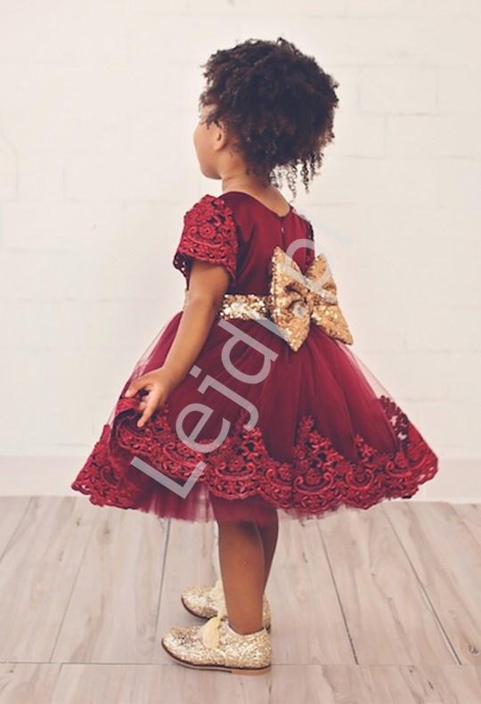e42b3eb5 Tiulowa sukienka dla dziewczynki na wesele, święta - ciemne wino z ...