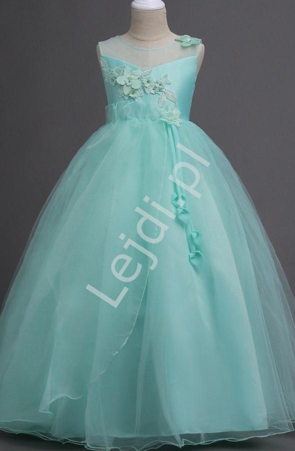 Tiulowa sukienka dla dziewczynki w kolorze miętowym 708 - Lejdi