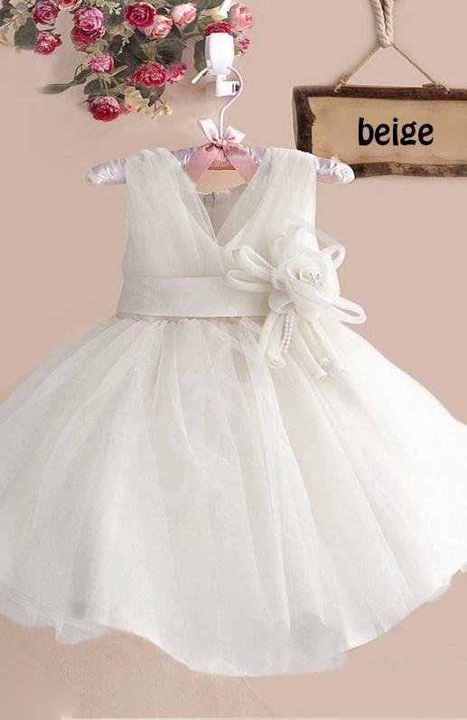 Tiulowa sukienka dla dziewczynki z kwiatkiem w pasie, biała na komunię, na sypanie kwiatków - Lejdi