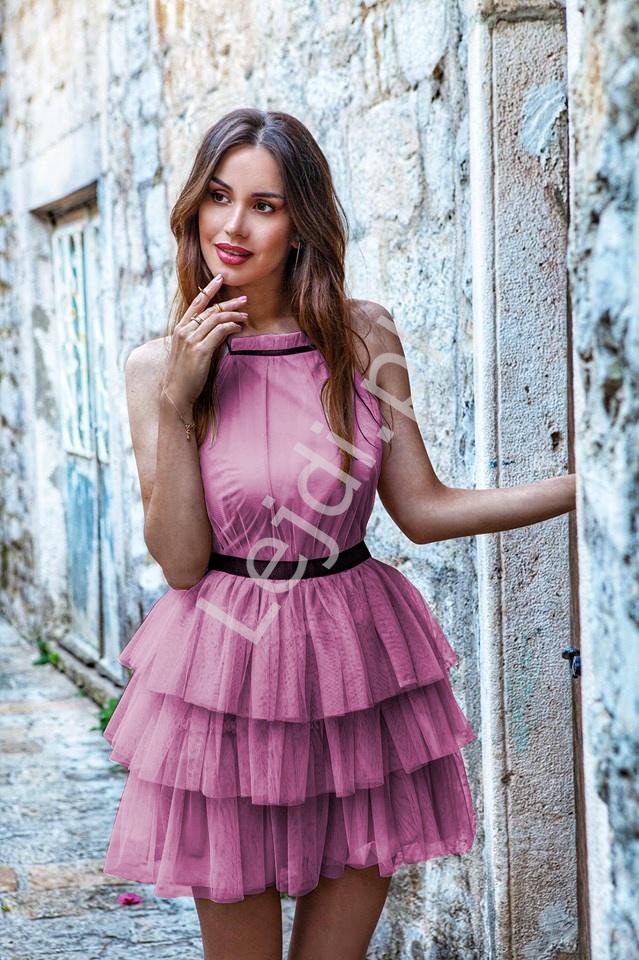 Tiulowa sukienka z falbankami EMO Nadia, wrzos - Lejdi