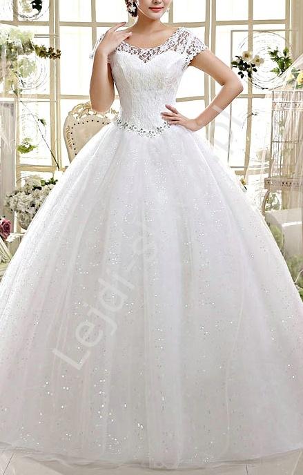 Tiulowa suknia ślubna z koronkowym gorsetem | delikatna suknia ślubna ze stokrotkami, model 3 - Lejdi