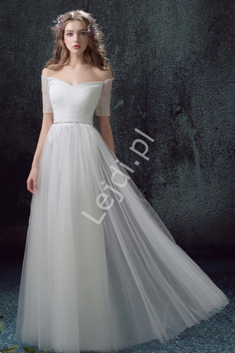 Suknia ślubna hiszpanka, tiulowa zdobiona kryształkami w pasie - Lejdi