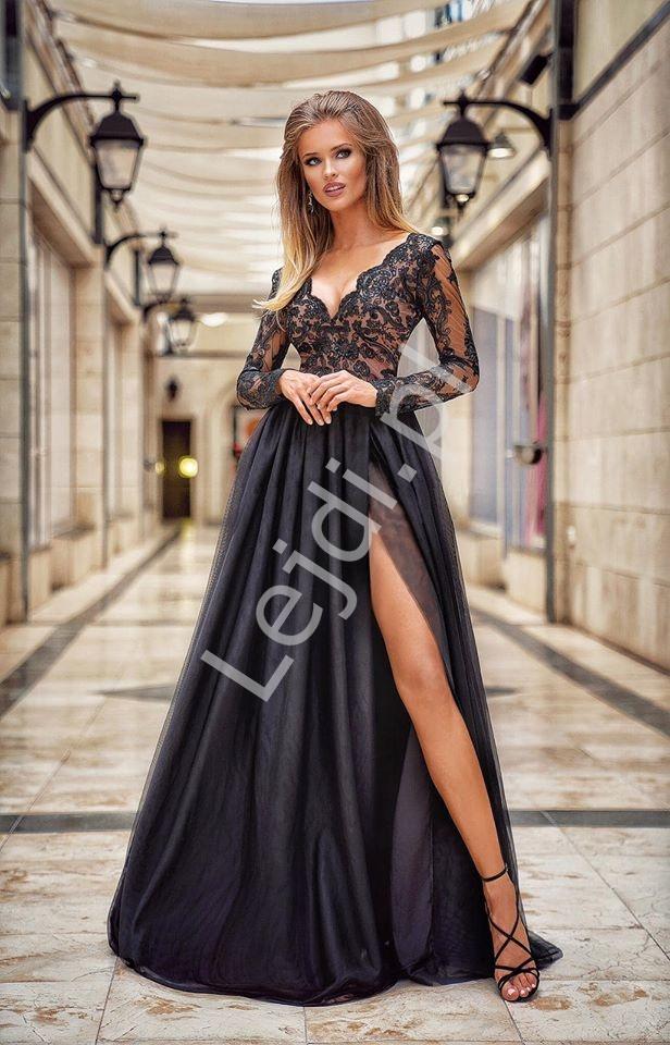 Tiulowa suknia wieczorowa czarna Adel EMO - Lejdi