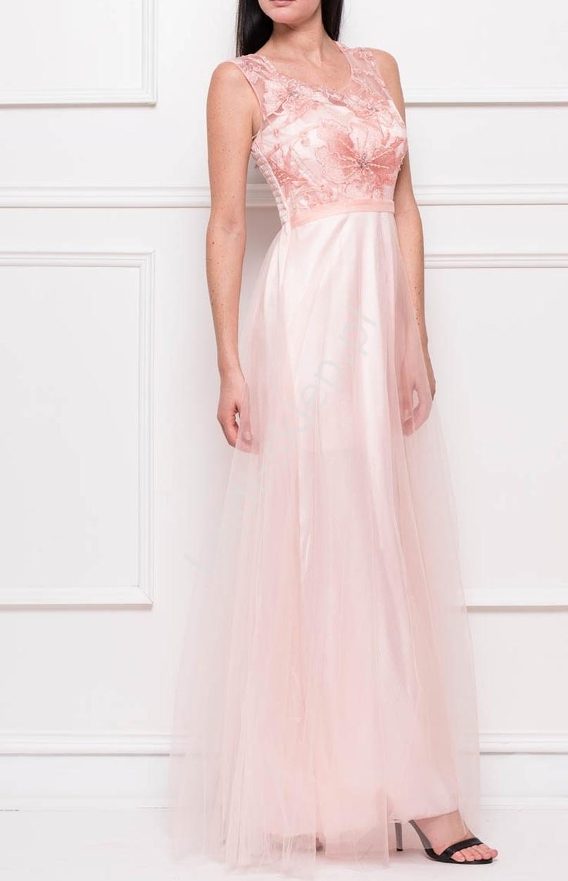Tiulowa suknia z haftowanymi cieniowanymi kwiatami | długie suknie - Lejdi