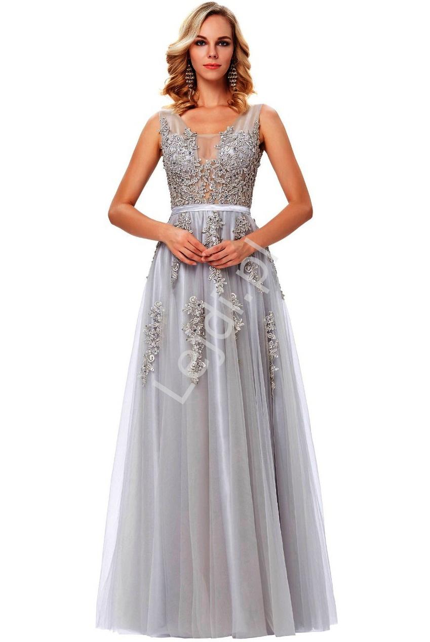 Suknia wieczorowa szara, sukienka studniówkowa | sukienka na wesele - Lejdi
