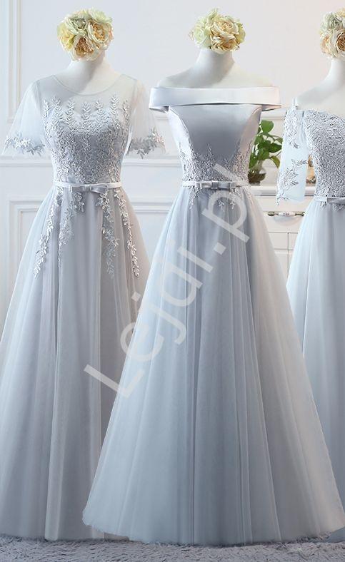 Tiulowa szara suknia wieczorowa z rękawkami motylkami i delikatnie odsłoniętymi ramionami - Lejdi