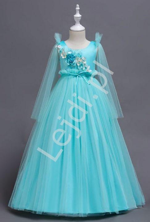 Tiulowa turkusowa długa sukienka dla dziewczynki 152 - Lejdi