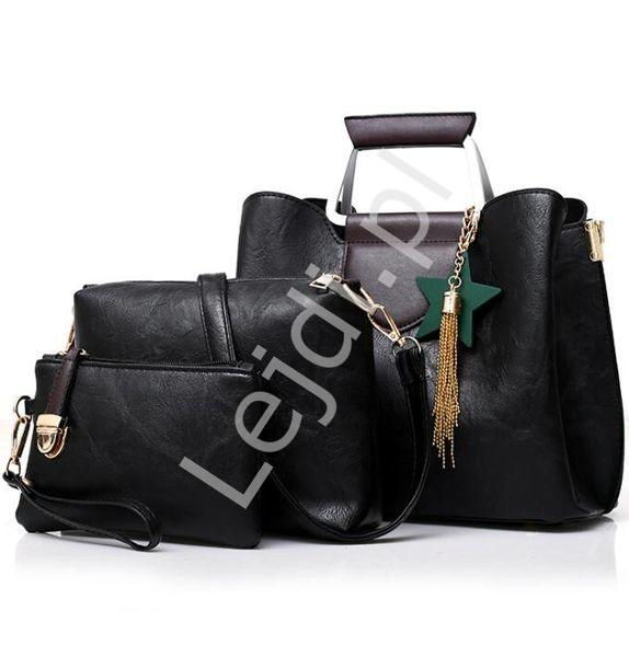Torebka damska czarna z drewnianą zawieszką i chwostem| torebka w zestawie + kopertwka + saszetk