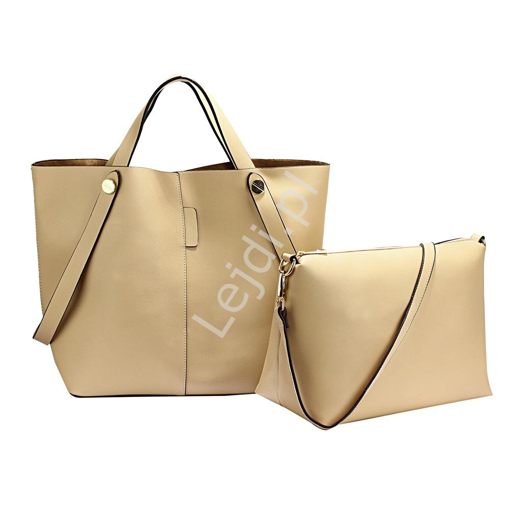 a965267a884 Torebka typu shoper bag + torba na ramię 2w1 , beżowa - Lejdi.pl
