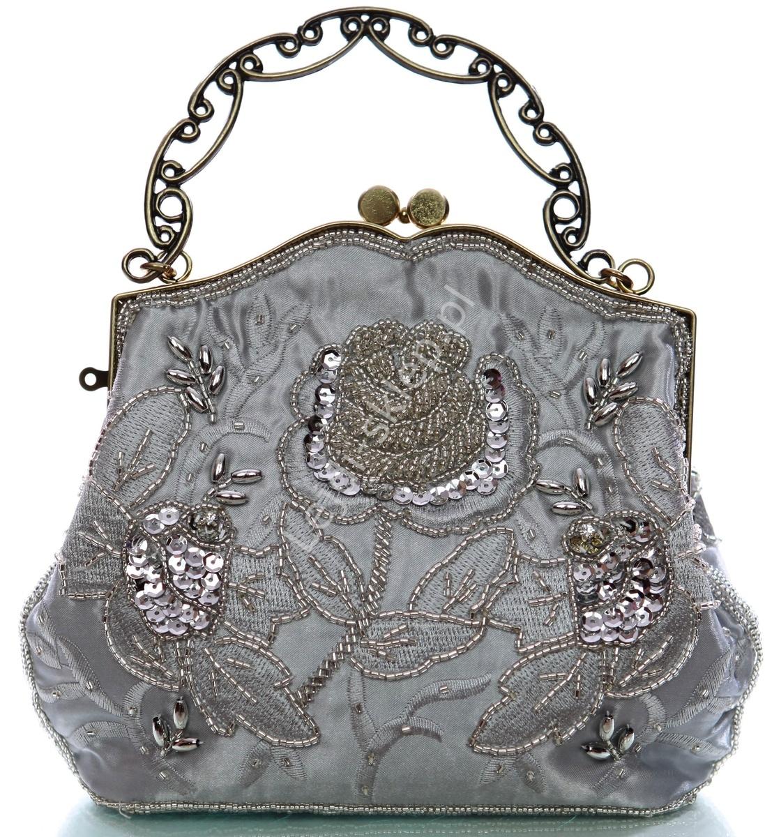 Torebka Wieczorowa Koraliki Hand Made W Stylu Barokowym Srebrna Lejdi Pl