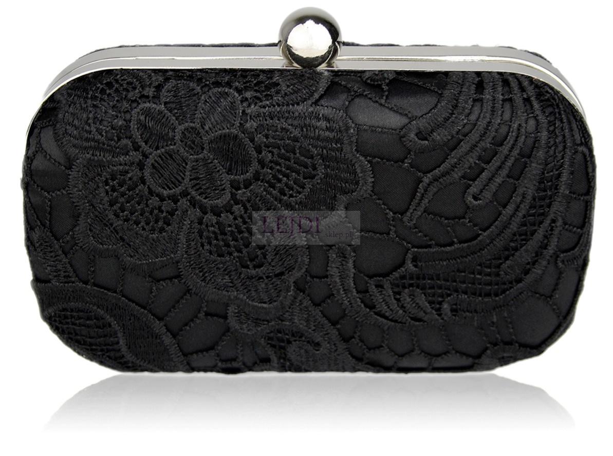 Torebka z szydełkowaną koronką, czarna | torebka w stylu Katarzyny Glinki, Joanny Sydor