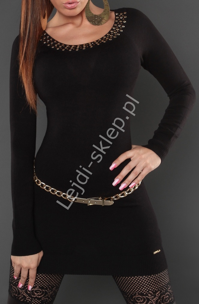 Tunika / sukienka z wiszącymi łańcuszkami na plecach, czarna 8005 - Lejdi