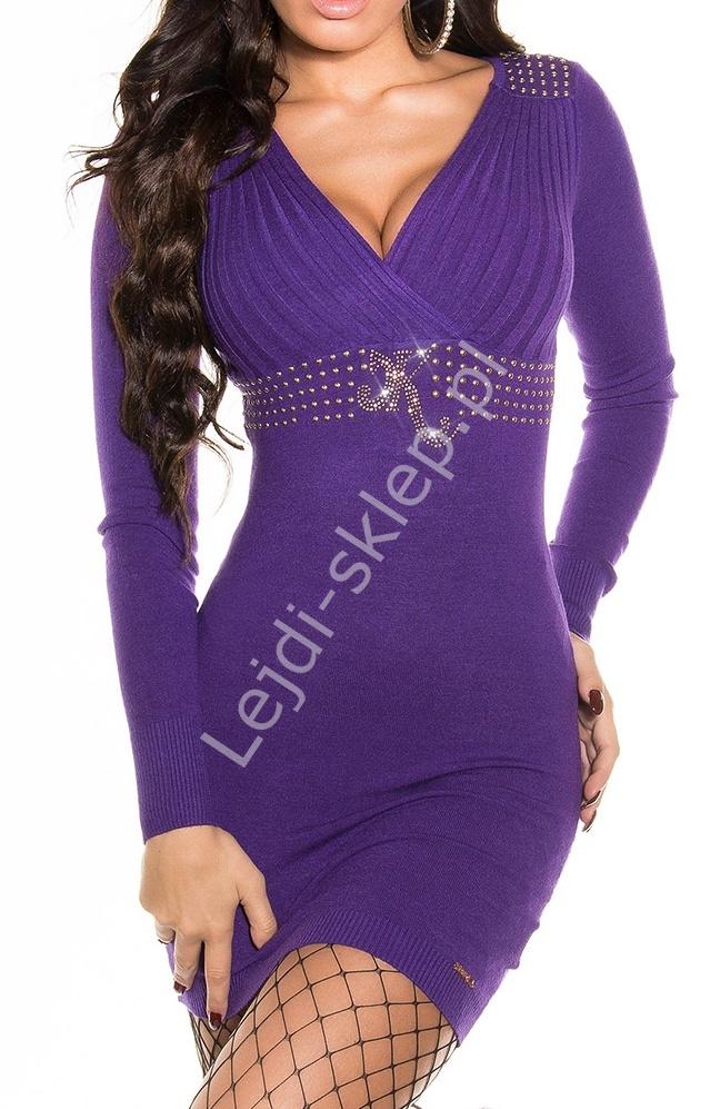 Tunika z plisowaniami, fioletowa| dzianinowe fioletowe sukienki, 8128 - Lejdi