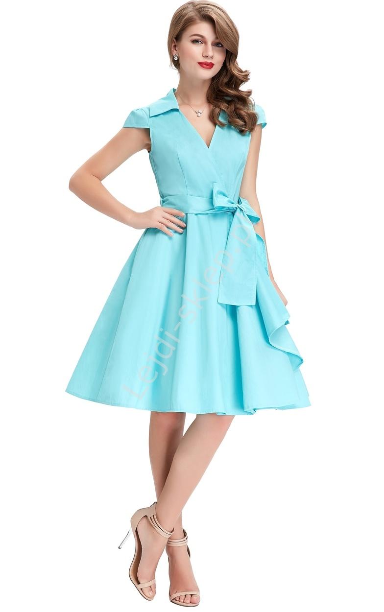 Turkusowa bawełniana sukienka w stylu retro | sukienka lata 60-te - Lejdi