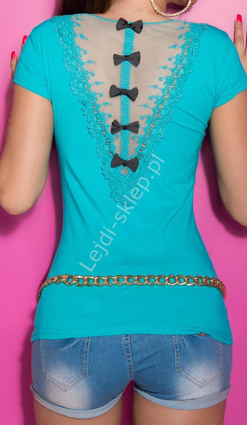 Turkusowa bluzka z kokardami i tiulową wstawka na plecach - Lejdi