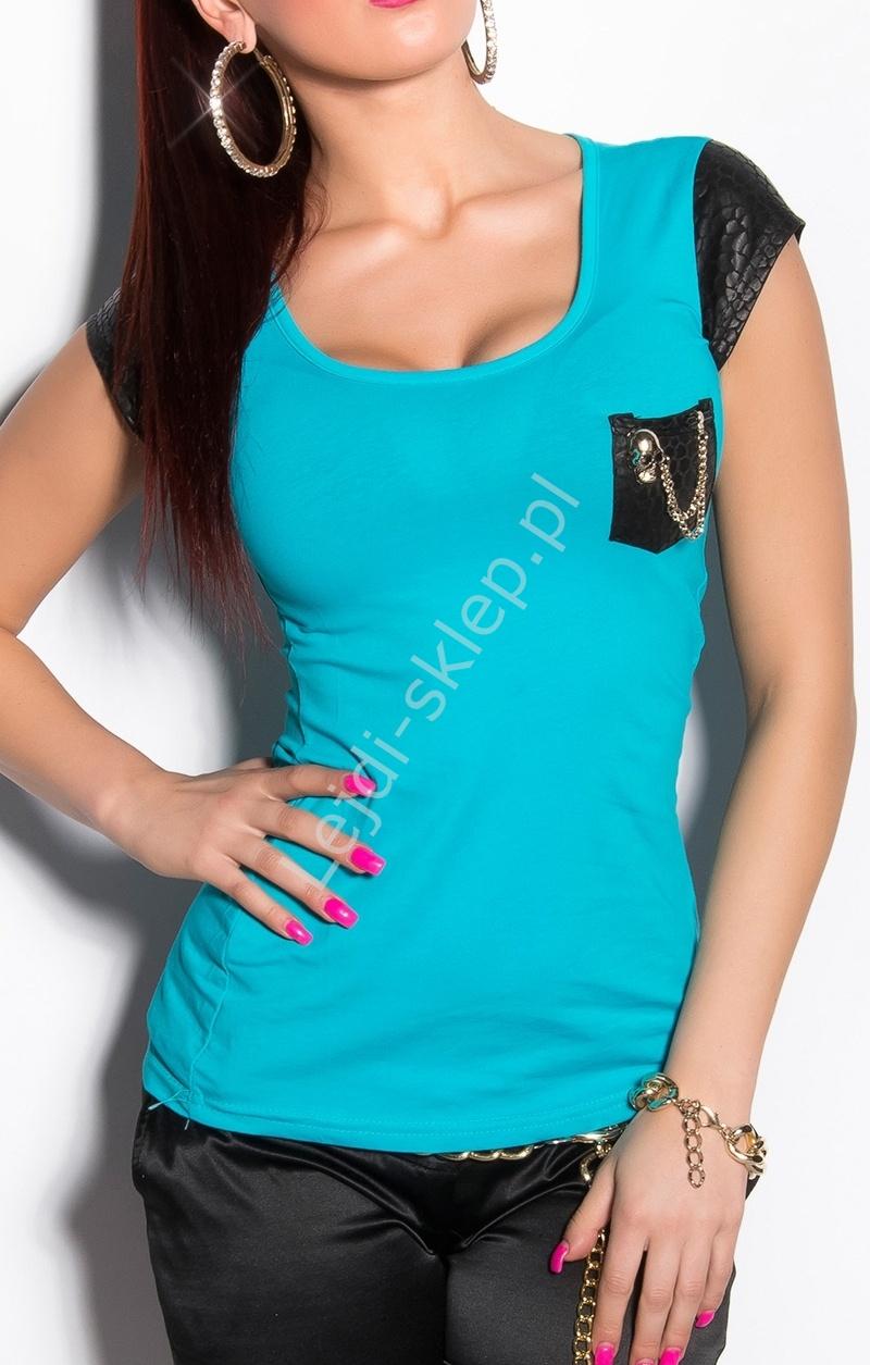 Turkusowa koszulka z bawełny z czarną wstawka na rękawach | turkusowa bluzka - Lejdi