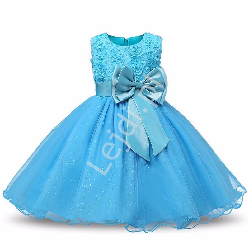Turkusowa tiulowa sukienka dla dziewczynki z różami - Lejdi