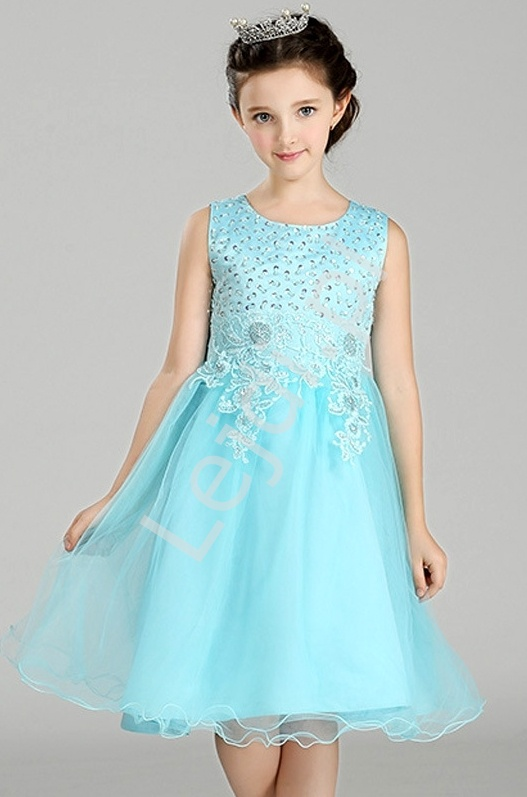 Turkusowa tiulowa sukienka z bogato zdobioną górą | sukienki dla dziewczynek - Lejdi