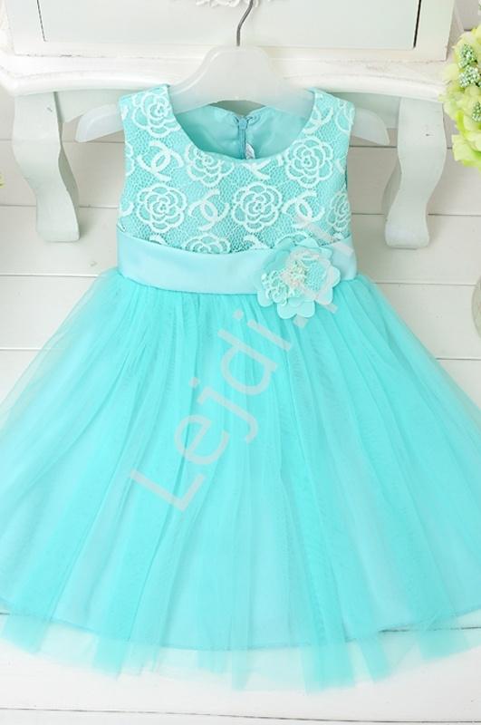 Turkusowa tiulowa sukienka z kwiatem w pasie | sukienki dla dziewczynek - Lejdi