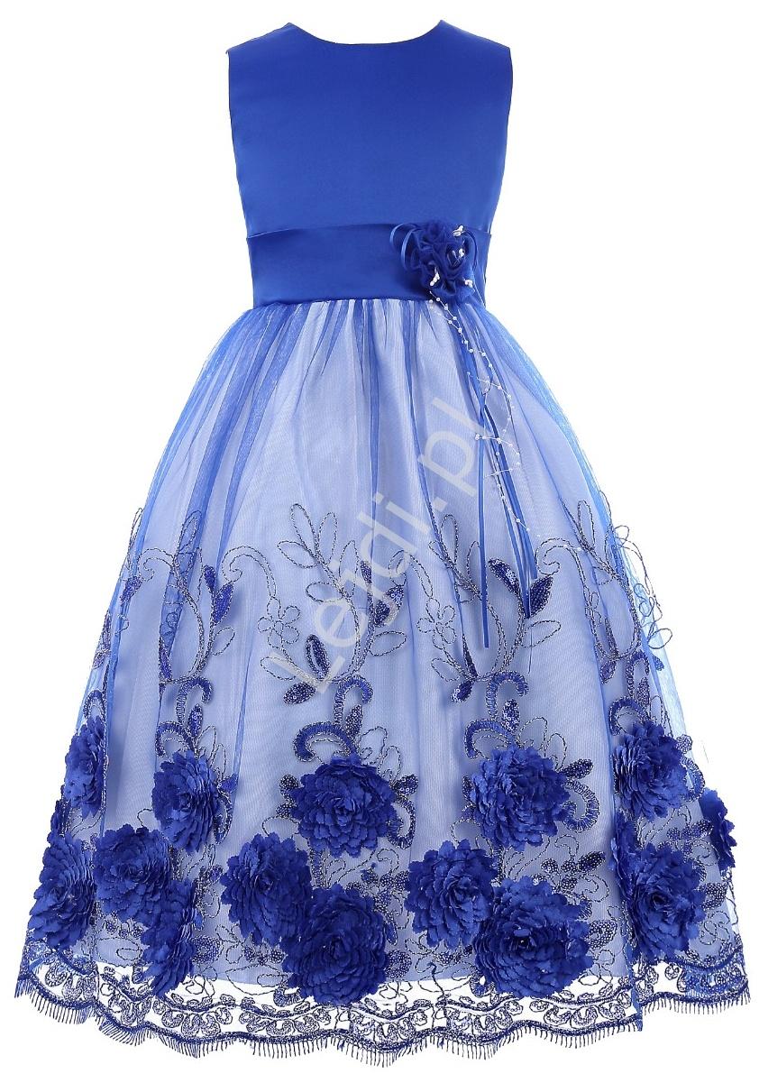 Unikatowa chabrowa sukienka dla dziewczynki | eleganckie niebieskie sukienki dziecięce - Lejdi
