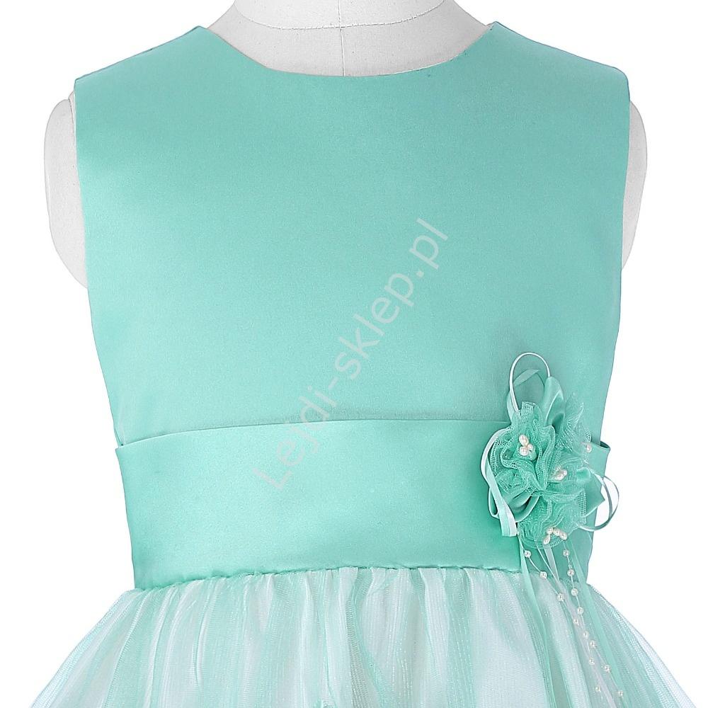 62371af22e51f5 Unikatowa turkusowa sukienka dla dziewczynki, eleganckie kreacje dziecięce