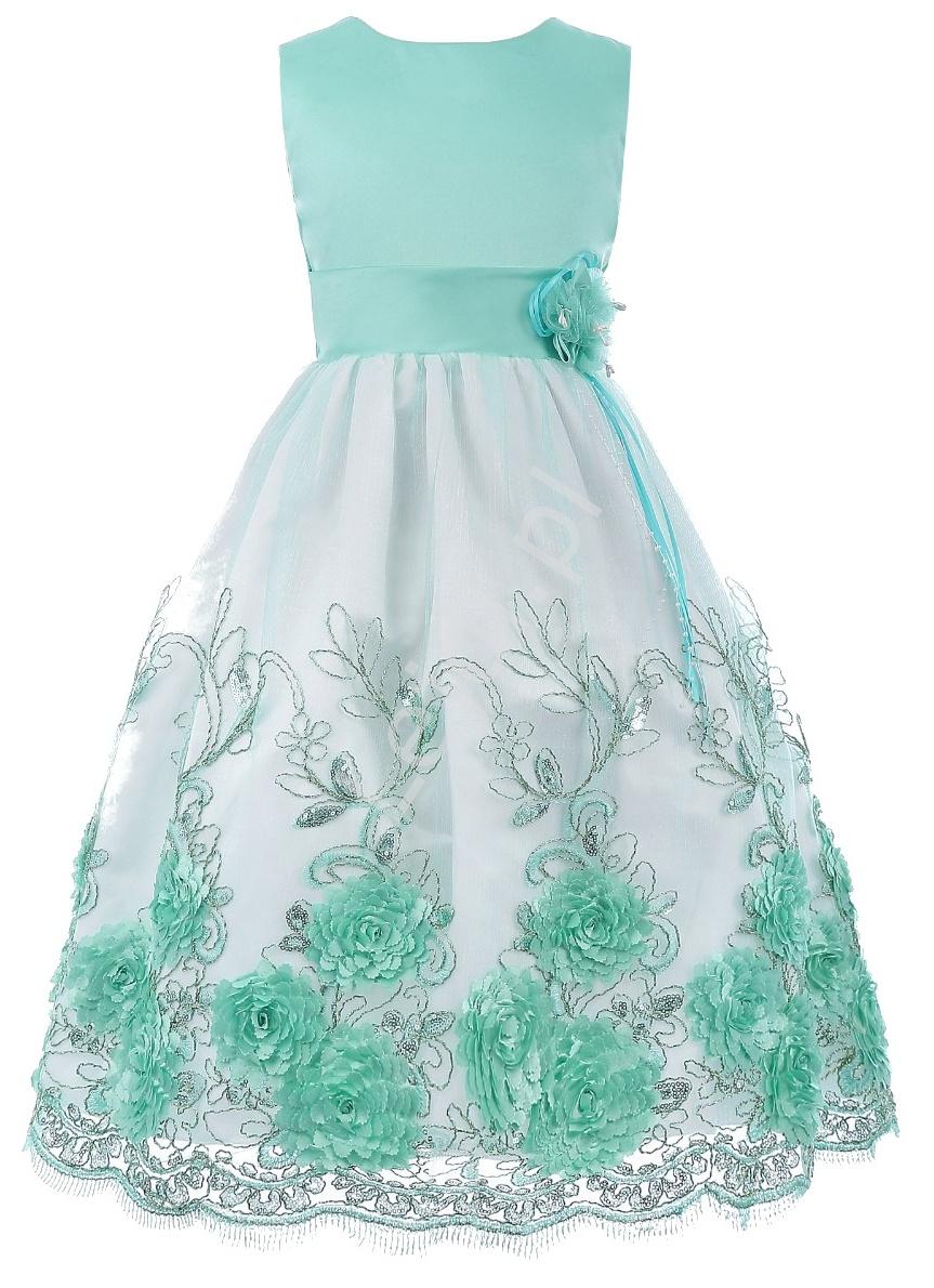 Unikatowa turkusowa sukienka dla dziewczynki | eleganckie sukienki dziecięce - Lejdi