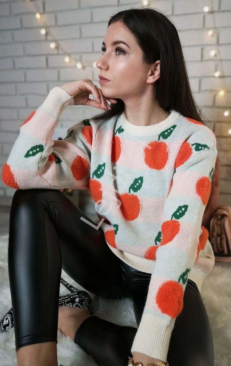 Uroczy ciepły sweter z pomarańczami, uni - Lejdi