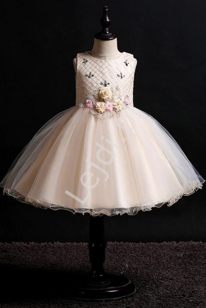 Waniliowo złota sukienka dla dziewczynki zdobiona kwiatkami 3D- 2006 - Lejdi