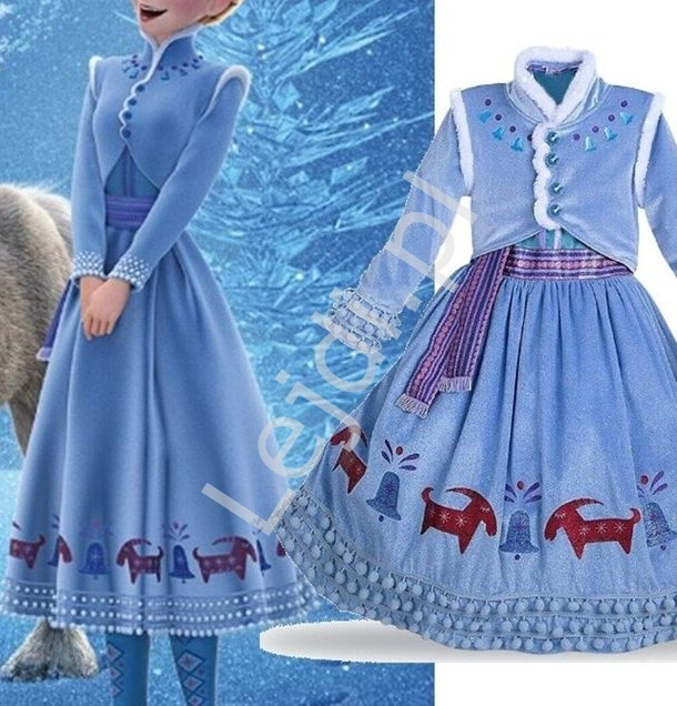 Welurowy kostium Elza sukienka + bolerko - Lejdi