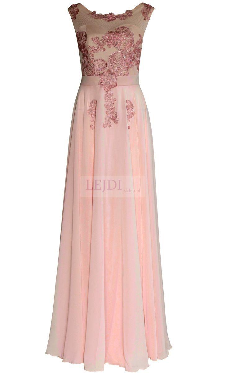 Wieczorowa długa suknia z perłami i gipiurowym haftem r.36 - r.46 - Lejdi